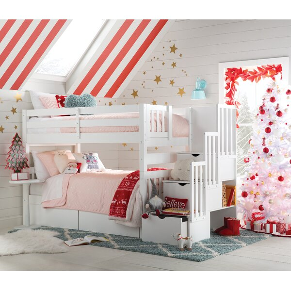 Tena Twin Over Twin Stairway Bunk Bed With Drawers By Harriet Bee by Harriet Bee