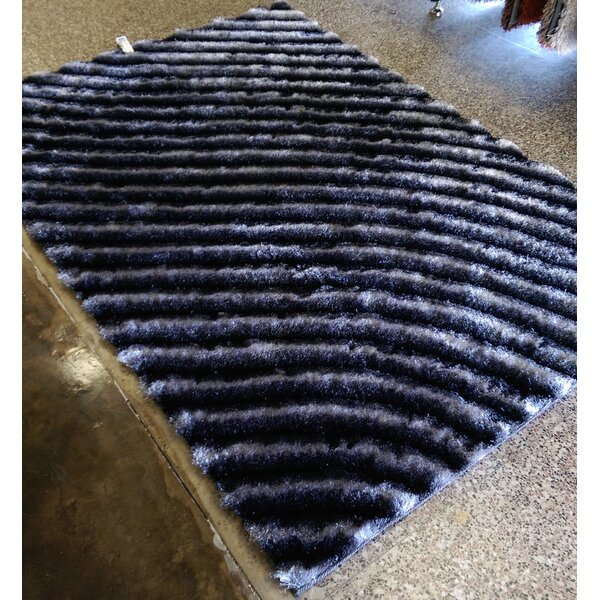 Solid Shaggy Hand-Tufted Gray Area Rug by Chic Rugz