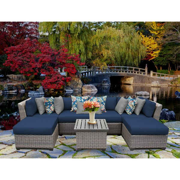 Florence 7 Piece Rattan Sectional Seating Group with Cushions by TK Classics