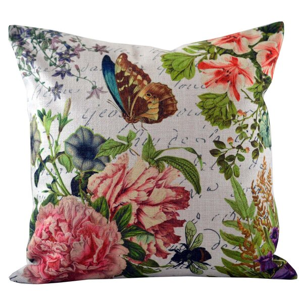 Butterfly Floral Throw Pillow Cover by Golden Hill Studio