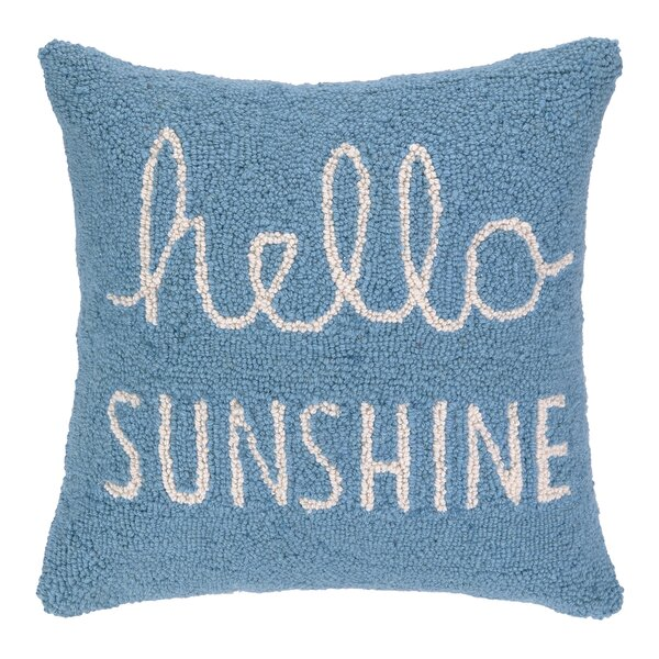 Hello Sunshine Square Hook Wool Throw Pillow by Peking Handicraft