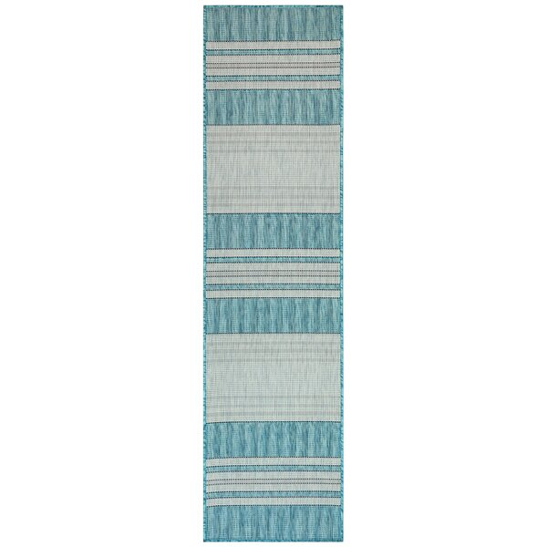 Desantiago Stripe Aqua/Gray Indoor/Outdoor Area Rug by Highland Dunes