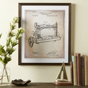 Sewing Machine Framed Blueprint by Birch Lane™