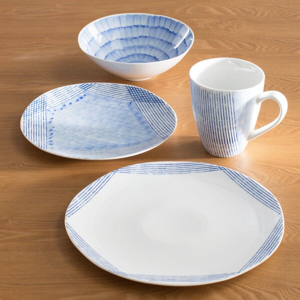 Waterfall 16 Piece Dinnerware Set, Service for 4 by Over and Back