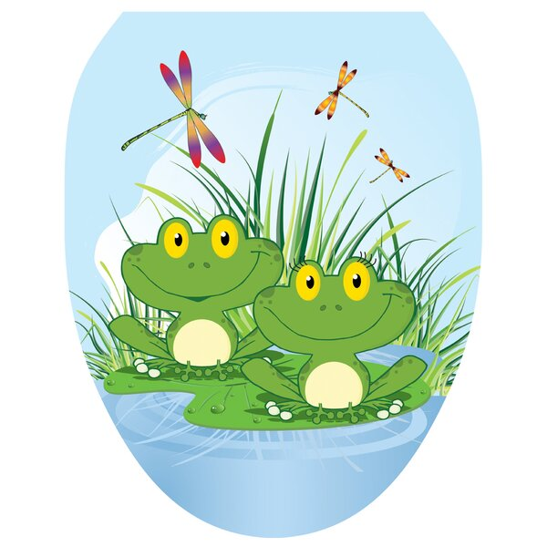 Floating Frogs Toilet Seat Decal by Toilet Tattoos