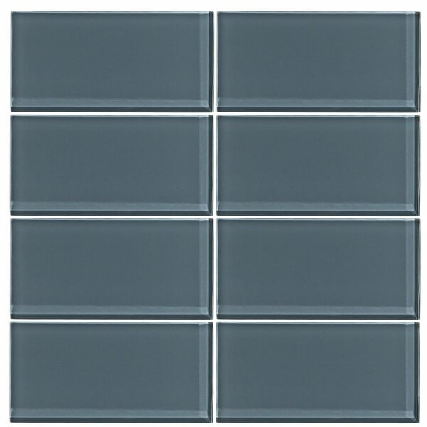 3 x 6 Glass Subway Tile in Steel Blue by Vicci Design