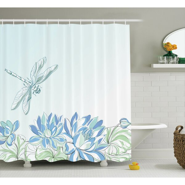 Peterman Country Waterlilies Flowers and Dragonflies Simplistic Home Eco Nature Theme Artwork Shower Curtain by August Grove