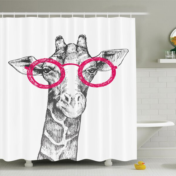 Giraffe Hipster Animal Glasses Shower Curtain Set by Ambesonne