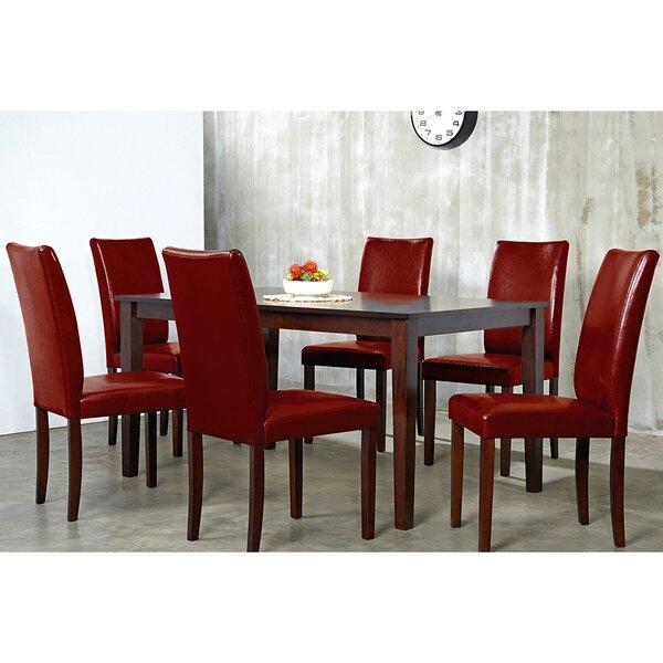 Evendale Crimson 7 Piece Solid Wood Dining Set by Red Barrel Studio Red Barrel Studio