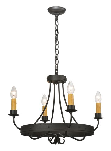 4 - Light Candle Style Wagon Wheel Chandelier by Meyda Tiffany Meyda Tiffany
