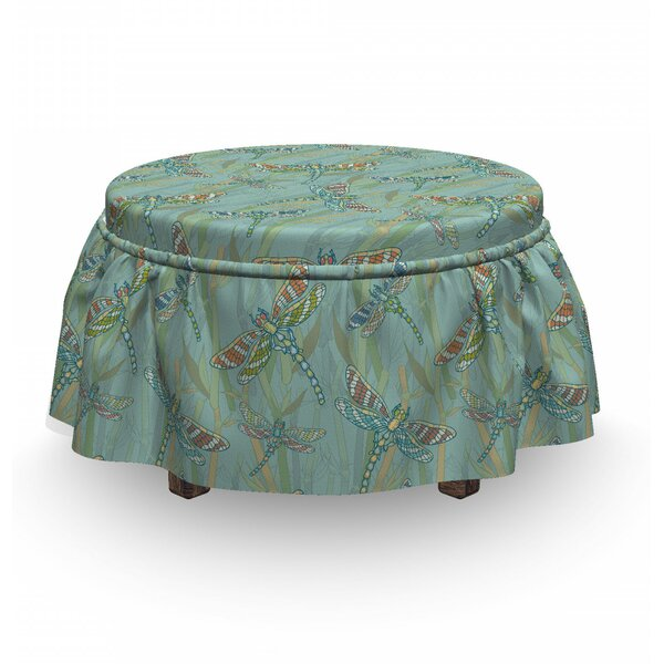 Dragonfly Vintage Lake Picture 2 Piece Box Cushion Ottoman Slipcover Set By East Urban Home