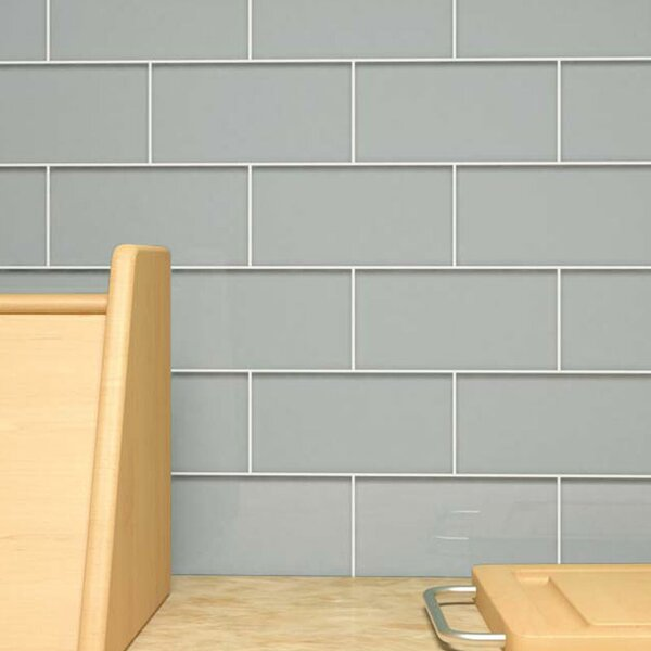 3 x 6 Glass Subway Tile in Gray by Giorbello
