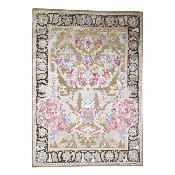 Oidized Crafts Oriental Hand-Knotted Silk Beige Area Rug by Bloomsbury Market