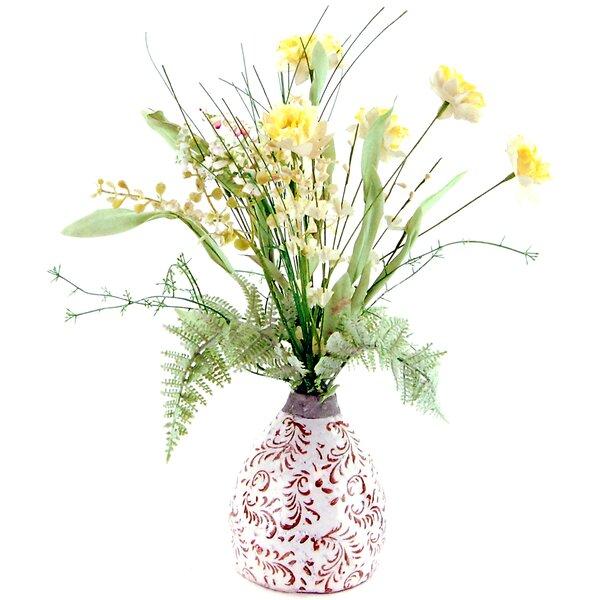 Wildflowers in an Embossed Ceramic Vase by LCG Florals