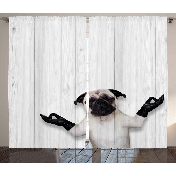 Daigle Animal Spiritual Funny Bulldog with Leather Gloves on Wood Board Funny Cute Image Graphic Print & Text Semi-Sheer Rod Pocket Curtain Panels (Set of 2) by Latitude Run