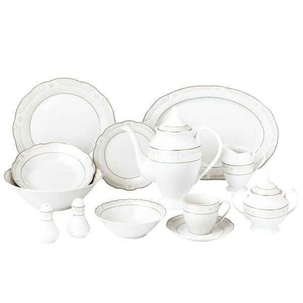 Wavy 55 Piece Dinnerware Set Service for 8 by Lorren Home Trends