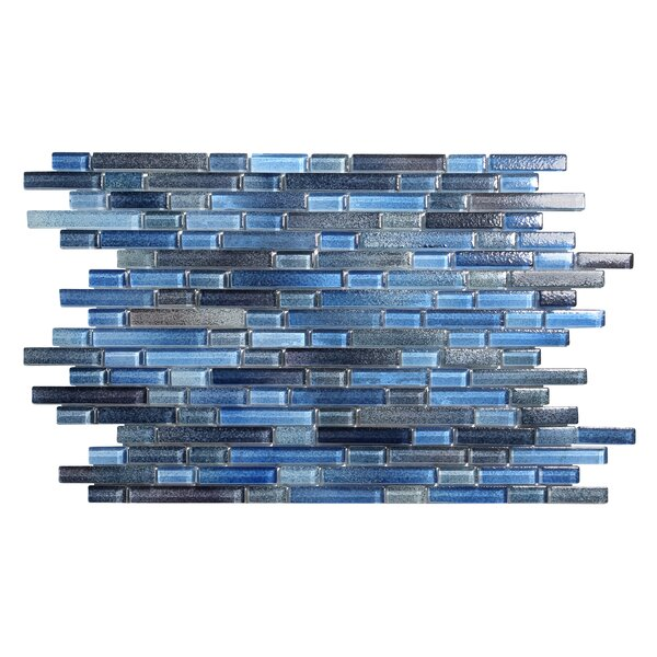 Hi-Fi Offset Linear Random Sized Glass Mosaic Tile in Blue by Kellani