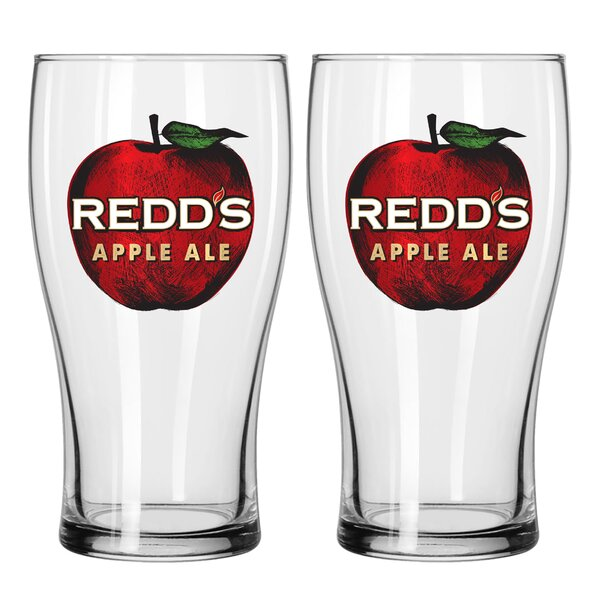 Redds Apple Ale 16 Oz. Glass Pint Glasses (Set of 2) by Boelter Brands
