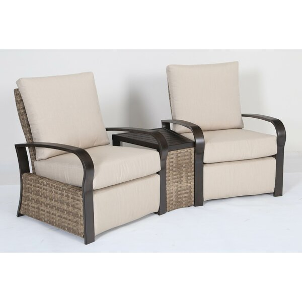 Monk 3 Piece Rattan Sunbrella with Cushions by Bayou Breeze