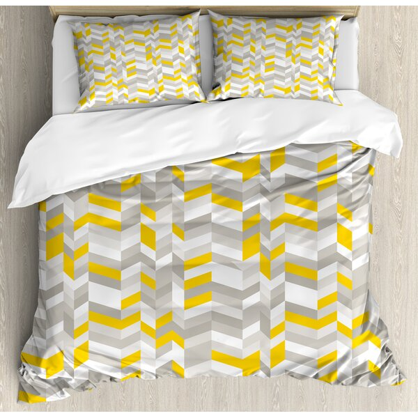 Geometric Vintage 60s Home Decor Inspired Zig Zags Duvet Set by Ambesonne