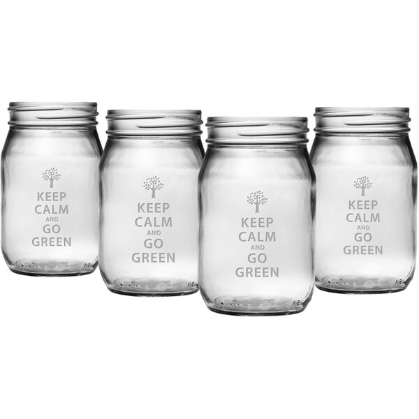 Keep Calm Drinking Jar (Set of 4) by Susquehanna Glass