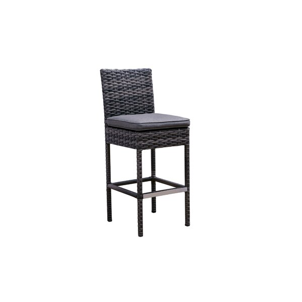 Donley Patio Bar Stool with Cushion by Brayden Studio