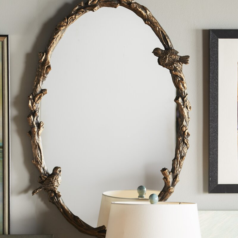 One Allium Way Eliana Oval Mirror In Antique Gold Leaf