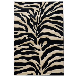Sculpture Black/Cream Zebra Skin Print Area Rug