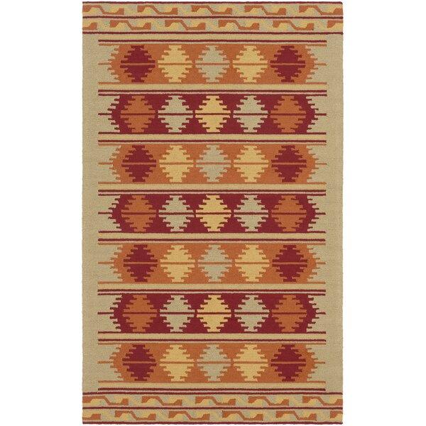 Pelchat Hand-Hooked Burnt Orange/Burgundy Indoor/Outdoor Area Rug by Bungalow Rose