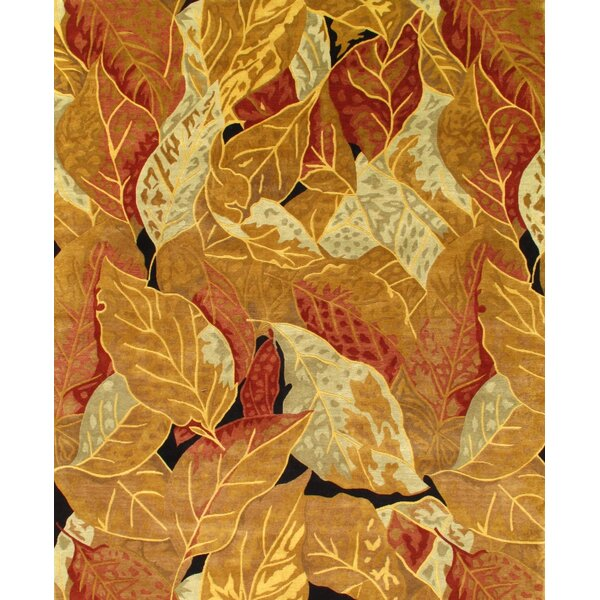 Contemporary Hand-Knotted Wool Gold Area Rug by Pasargad NY