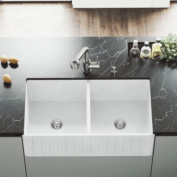 VIGO Matte Stone 33 L x 18 W Double Basin Farmhouse Kitchen Sink with Faucet by VIGO