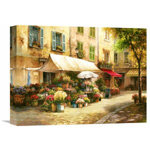 The Flower Market' by Han Chang Painting on Wrapped Canvas by Global Gallery