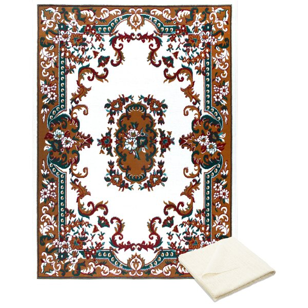 Rossman Brown/Ivory Area Rug with Rug Pad by Astoria Grand