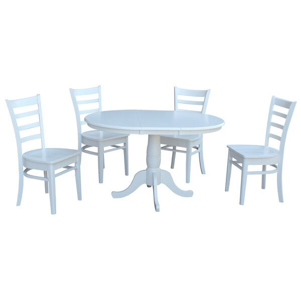 Petra Extendable Pedestal 5 Piece Solid Wood Dining Set by August Grove August Grove