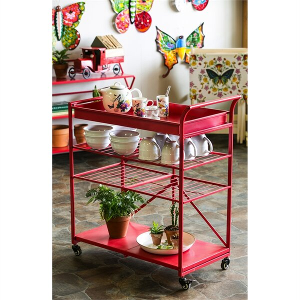 Panek Metal Foldable Bar Cart by Wrought Studio