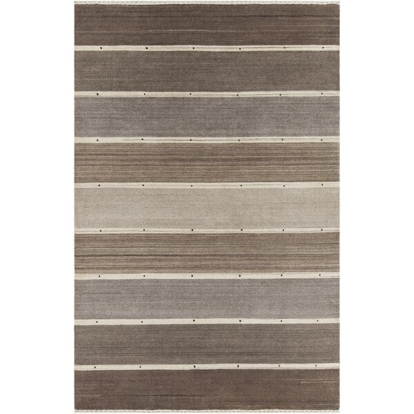 Roxanne Patterned Knotted Wool Brown/Gray Area Rug by Corrigan Studio