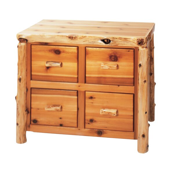 Traditional Cedar Log 4-Drawer File Cabinet by Fir