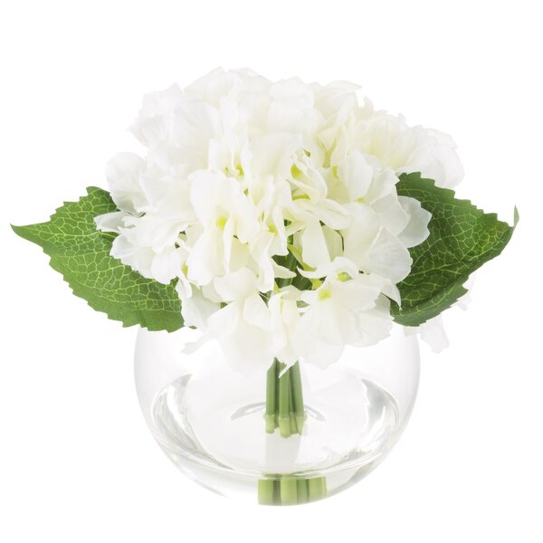 Hydrangea Floral Arrangement in Glass Vase by Ophelia & Co.