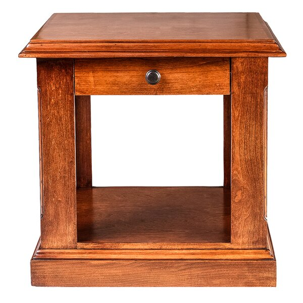 Meade 26 H End Table with Black Knobs by Loon Peak