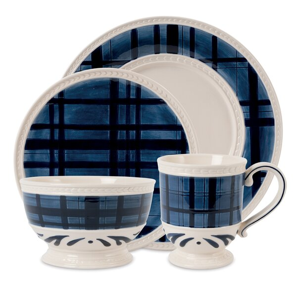 Bristol Indigo Tarton 4 Piece Place Setting, Service for 1 by Fitz and Floyd