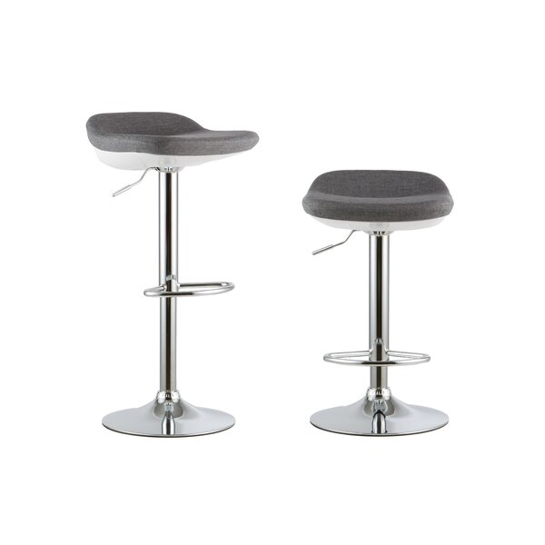 2 Piece Adjustable Height Swivel Bar Stool Set (Set of 2) by Attraction Design Home