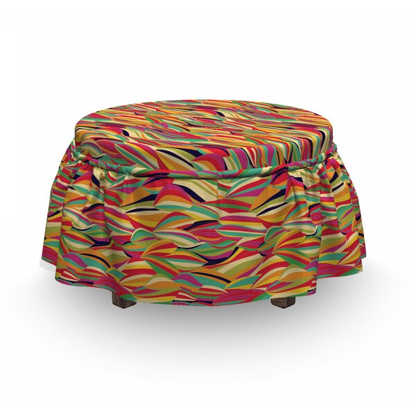 Abstract Leaf Like Shapes Ottoman Slipcover (Set Of 2) By East Urban Home