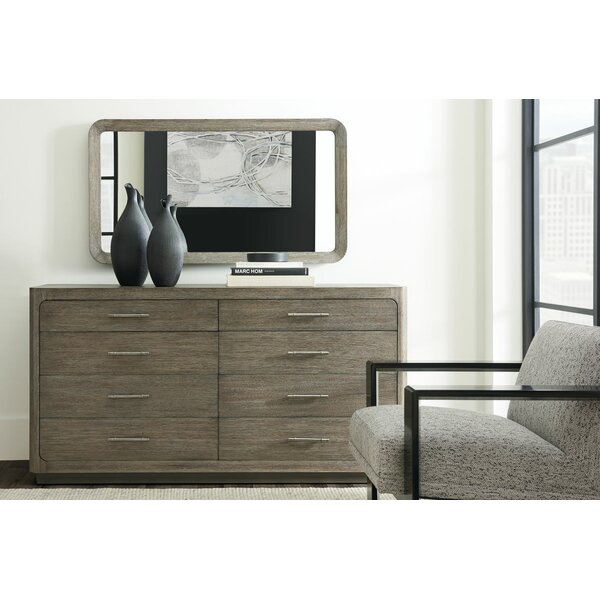 Fusion Cerused 8 Drawer Double Dresser with Mirror by Caracole Modern