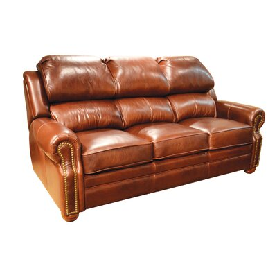 "San Juan Genuine Leather Reclining 84"""" Rolled Arm Sofa Omnia Leather Body Fabric: Softsations Swiss Coffee, Nailhead Detail: Medium Tuscan Touching, R -  SanJuan3CRecSofa-53111-Softsations Swiss Coffee-Med Tus Tou-Pow"