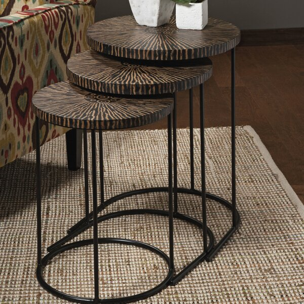 Briggsvale 3 Piece Coco Shell Tables Set By World Menagerie