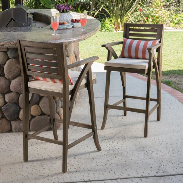Garney 30 Patio Bar Stool with Cushion (Set of 2) by Gracie Oaks