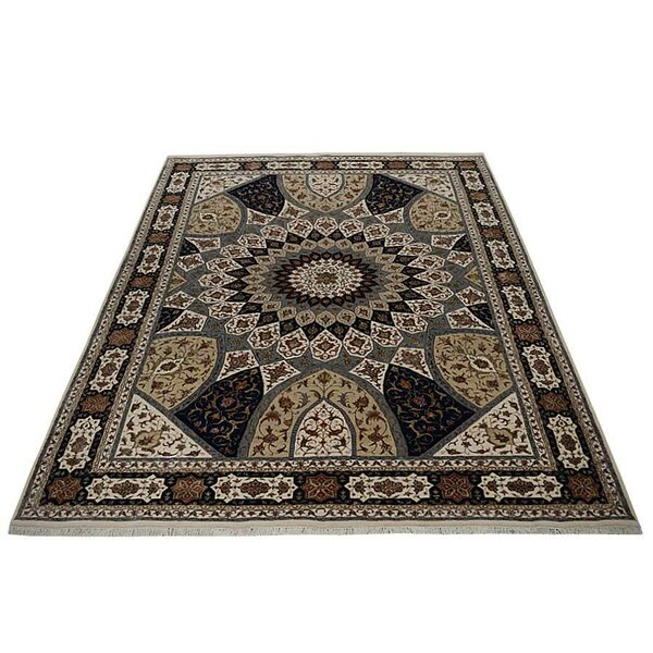 Ferrin Oriental Hand-Knotted Wool Blue/Cream Area Rug by Astoria Grand