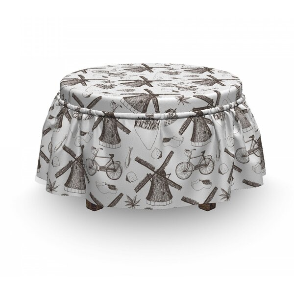 Windmills And Tulips Ottoman Slipcover (Set Of 2) By East Urban Home