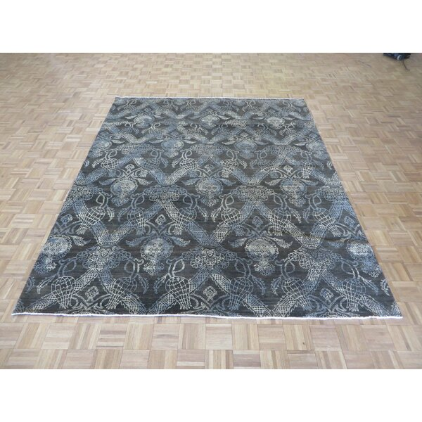 One-of-a-Kind Josephson Ikat Peshawar Hand-Knotted Wool Chocolate Brown Area Rug by Canora Grey