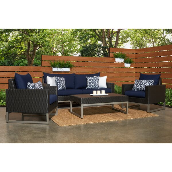 Minor 4 Piece Rattan Sunbrella Sofa Set with Cushions by Wade Logan